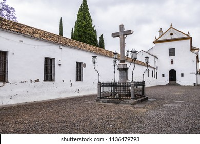 Capuchinos Square (Plaza de Capuchinos) with monument Christ of the Lanterns (The Cristo de los Faroes) in Cordoba, Andalucia, Spain.