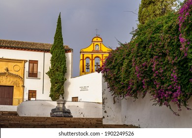 Capuchinos Square, Plaza de Capuchinos with monument Christ of the Lanterns, The Cristo de los Faroes in Cordoba, Andalucia, Spain.