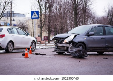 Car accident. Auto crash, wreck with damage injury. Street, traffic collision. Broken metal. Automobile insurance, safety, repair and transportation. Road dangerous drive.