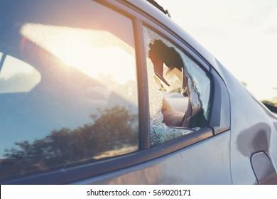Car accident broken glass