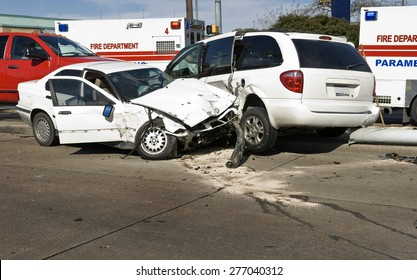 Car accident with damaged automobiles