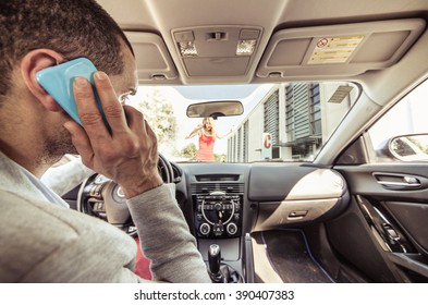 Car accident. Distracted driver on the phone running over a pedestrian. Concept about transportation and driving dangers