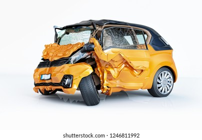 Car accident. Generic cars crashed. Yellow microcar heavily damaged on the front and side. Isolated on white background.