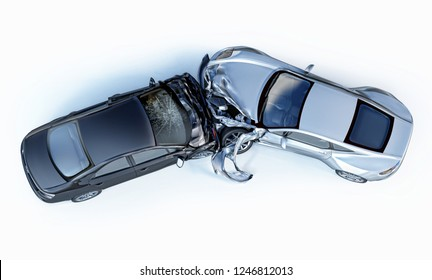 Car accident. Generic cars crashed. Silver sport car crashed against a black sedan, viewed from the top. Isolated on white background.