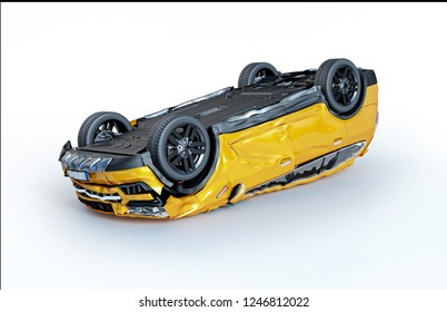 Car accident. Generic cars crashed. A yellow sedan crashed, lying upside down on the floor. Isolated on white background.