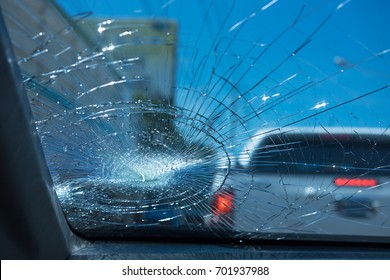 car accident. inside car front safety glass car are broken. image for car,vehicle,transportation,accident concept