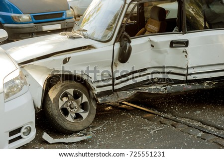 Car Accident On Highway Traffic Accident Stock Photo (Edit