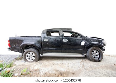 Car of accident on road make damaged at claim the insurance company. Working car repair inspection at damaged of accident. Image with clipping path and style blur focus.