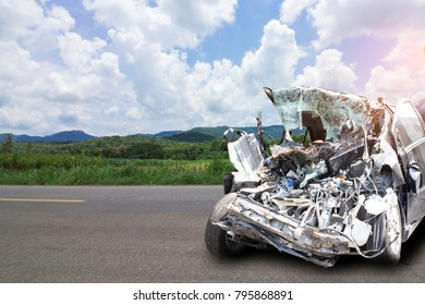 Car of accident on road Make damaged at claim the insurance company. Working car repair  inspection at damaged of accident. Claim the insurance company. Image with clipping path and style blur focus.