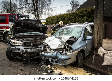 Car accident on a road in March 21, 2019, cars after frontal collision in Riga, Latvia.