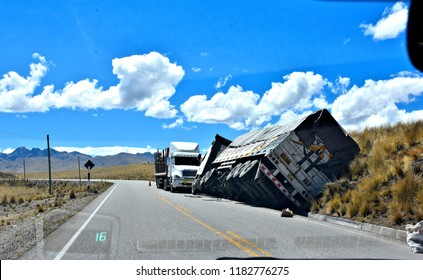Car Accident- overturned 18-wheeler in Andes. Peru. Driving in Peru is dangerous.  2018-08-29.