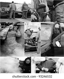 Car accident scene  collage, desaturated, with wrecked cars, an injured victim, firemen, ambulance and the drunk driver being arrested.  Each full sized image is in my portfolio.