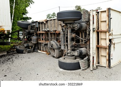 Car accident with a truck on road