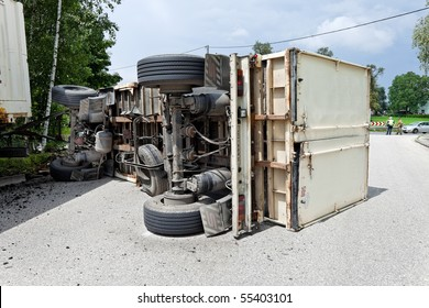 Car accident with truck on a road