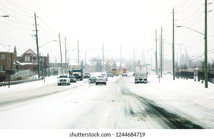 Car accident in winter. The danger of driving in winter. Canada