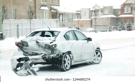 Car accident in winter. Danger of riding in the winter. Canada
