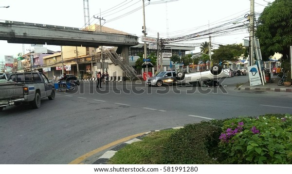Car accidents at the intersection Cha-Am ,Phetchaburi, Thailand on 9th November 2014 early in the morning.