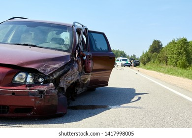 car after accident on a road because of frontal collision itransportation background