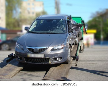 car after the accident,the damaged car after the collision.