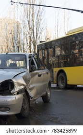 Car after crash, crashed blue car, accident