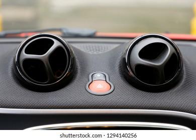 Car air conditioner, interior of a new modern car