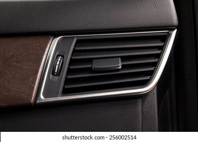 Car air conditioning system. Auto interior detail.