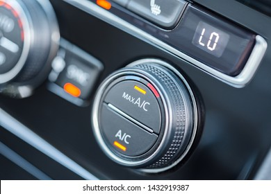 Car air conditioning system. Air condition switched on maximum cooling mode