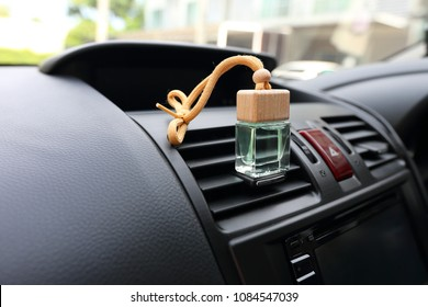 Car air freshener on dashboard