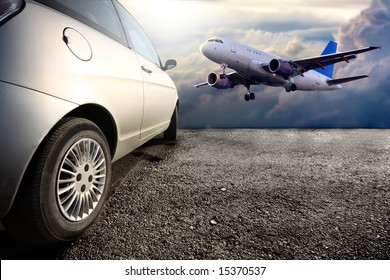 a car and a airplane