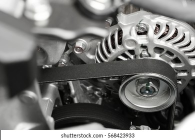 Car Alternator with belt  electric energy technology industry background