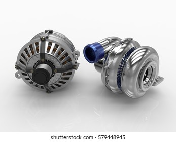 Car alternator with turbine isolated on a background. 3D rendering.