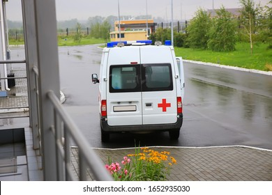 car ambulance on  parking near hospital