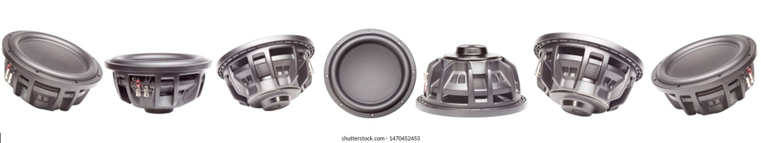 Car audio, car speakers. A set of car speakers subwoofers. Isolated white background. Banner.