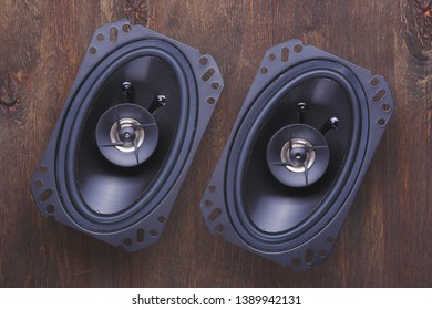 car audio, car speakers, subwoofer and accessories for tuning. Top view