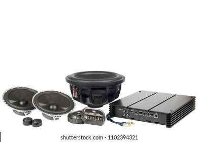 Car audio, car speakers. White background
