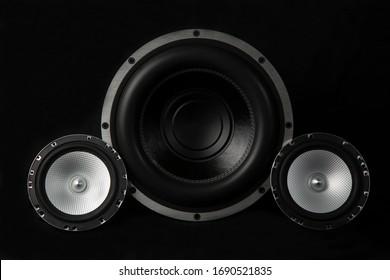 Car audio system on a black background.Subwoofer.