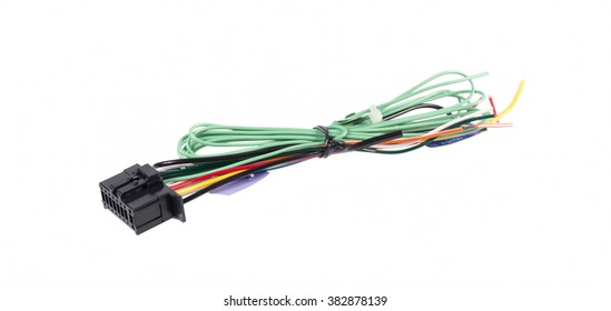 Car Audio wiring on white background
