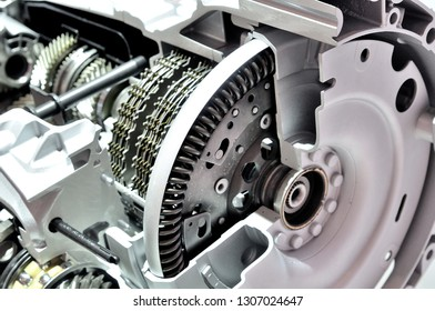 Car automatik transmission with gearbox, opened.