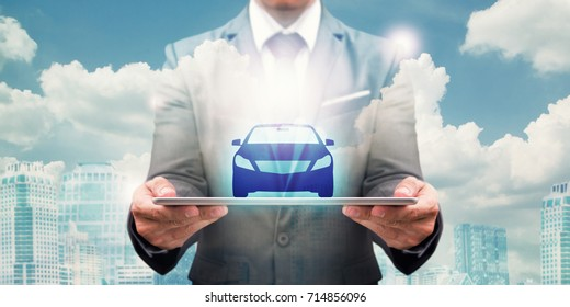 Car Automobile icon on tablet for insurance sale rental financial concept