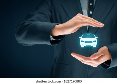 Car (automobile) insurance and collision damage waiver concepts. Female insurer (insurance agent) with protective gesture and icon of a car.