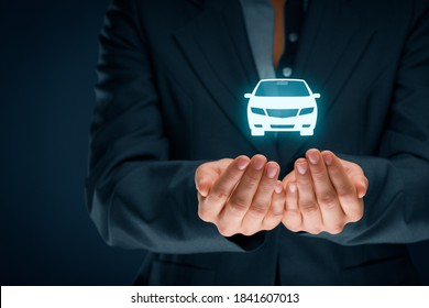 Car (automobile) insurance collision damage waiver and another car services concepts. Insurer (insurance agent) with protective gesture and icon of a car.