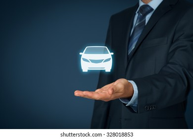 Car (automobile) insurance and collision damage waiver concepts. Businessman with giving gesture and icon of car.