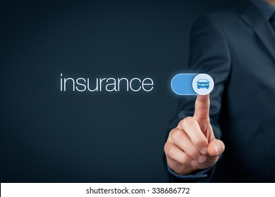 Car (automobile) insurance and collision damage waiver concepts. Businessman (or insurance agent) switch over car insurance.