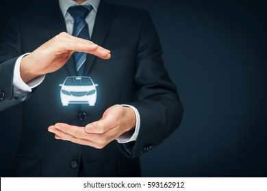 Car (automobile) insurance and collision damage waiver concepts. Insurer (insurance agent) with protective gesture and icon of a car. Left composition.