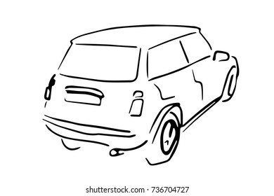 Car back side view black and white sketch, simple drawing isolated at white background.