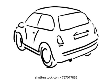 Car back side view black and white sketch, simple drawing at white background.