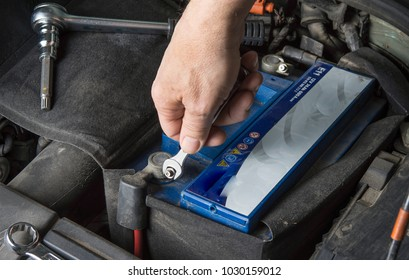 Car battery change. Check contact with wrench