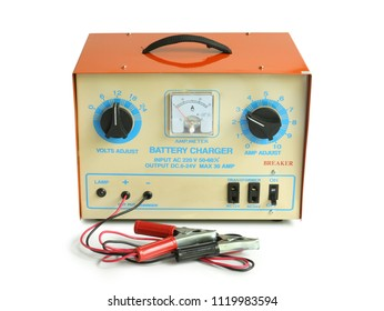 Car battery charger isolated on white background