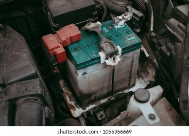 Car battery corrosion .Should be checked in the car service center.