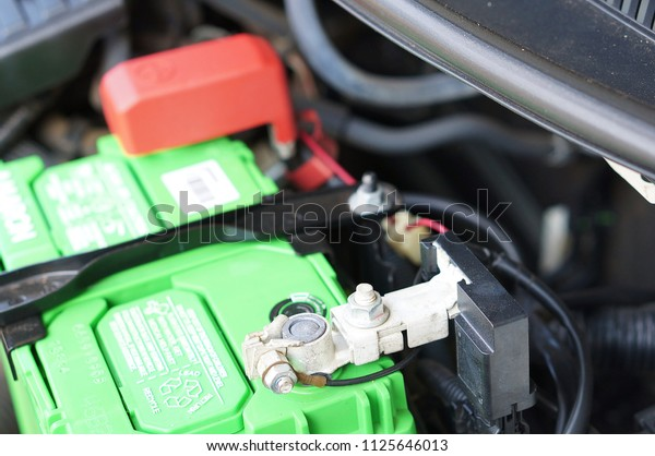 Car Battery Red Positive Polarity Stock Photo Edit Now 1125646013